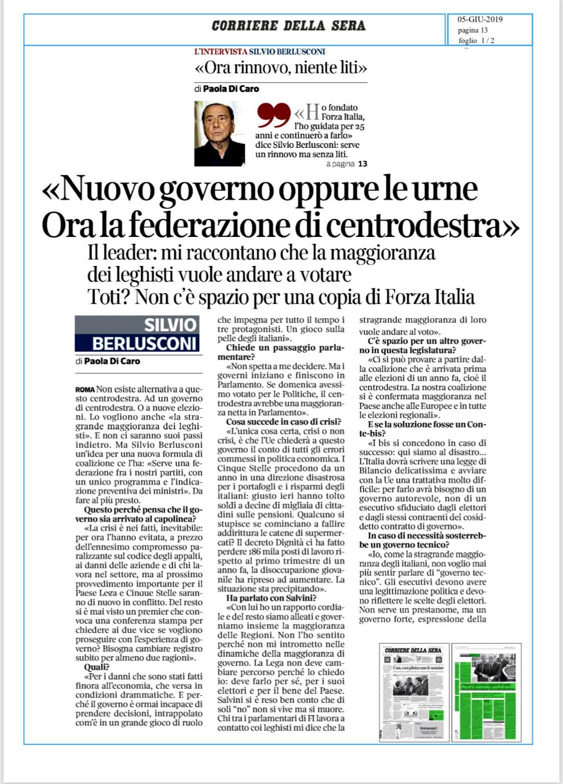 Berlusconi al Corriere: Torniamo alle urne, no ai governi tecnici 3