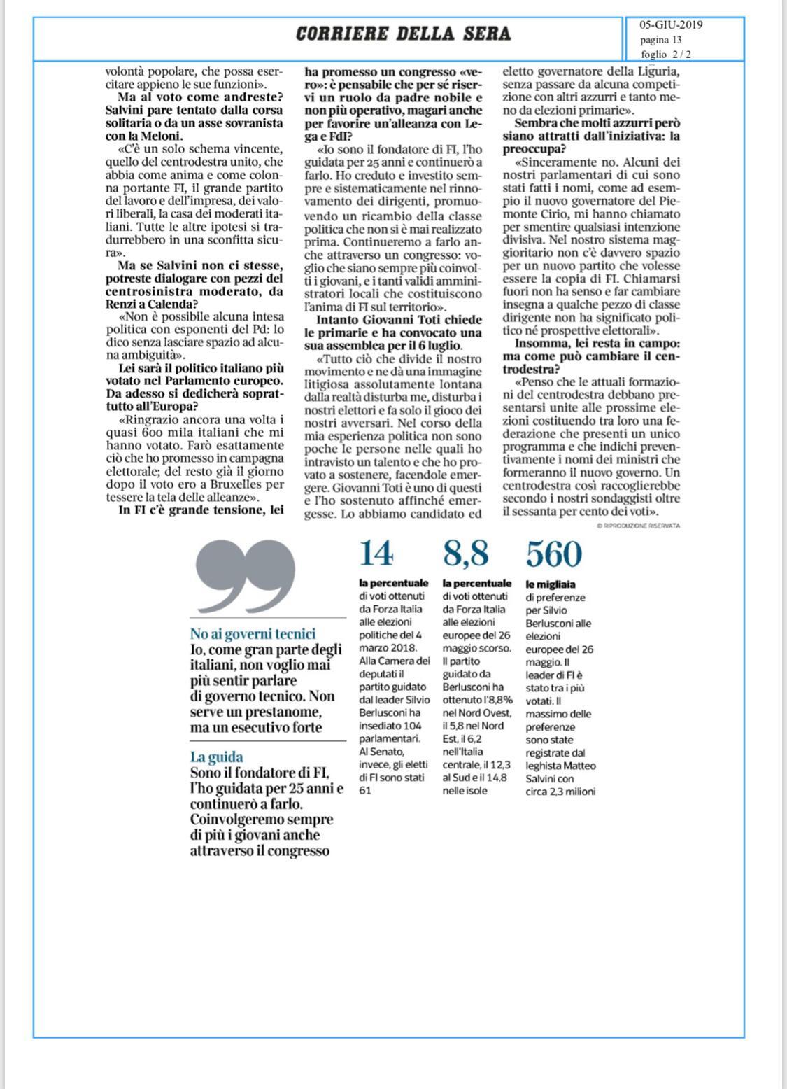 Berlusconi al Corriere: Torniamo alle urne, no ai governi tecnici 4