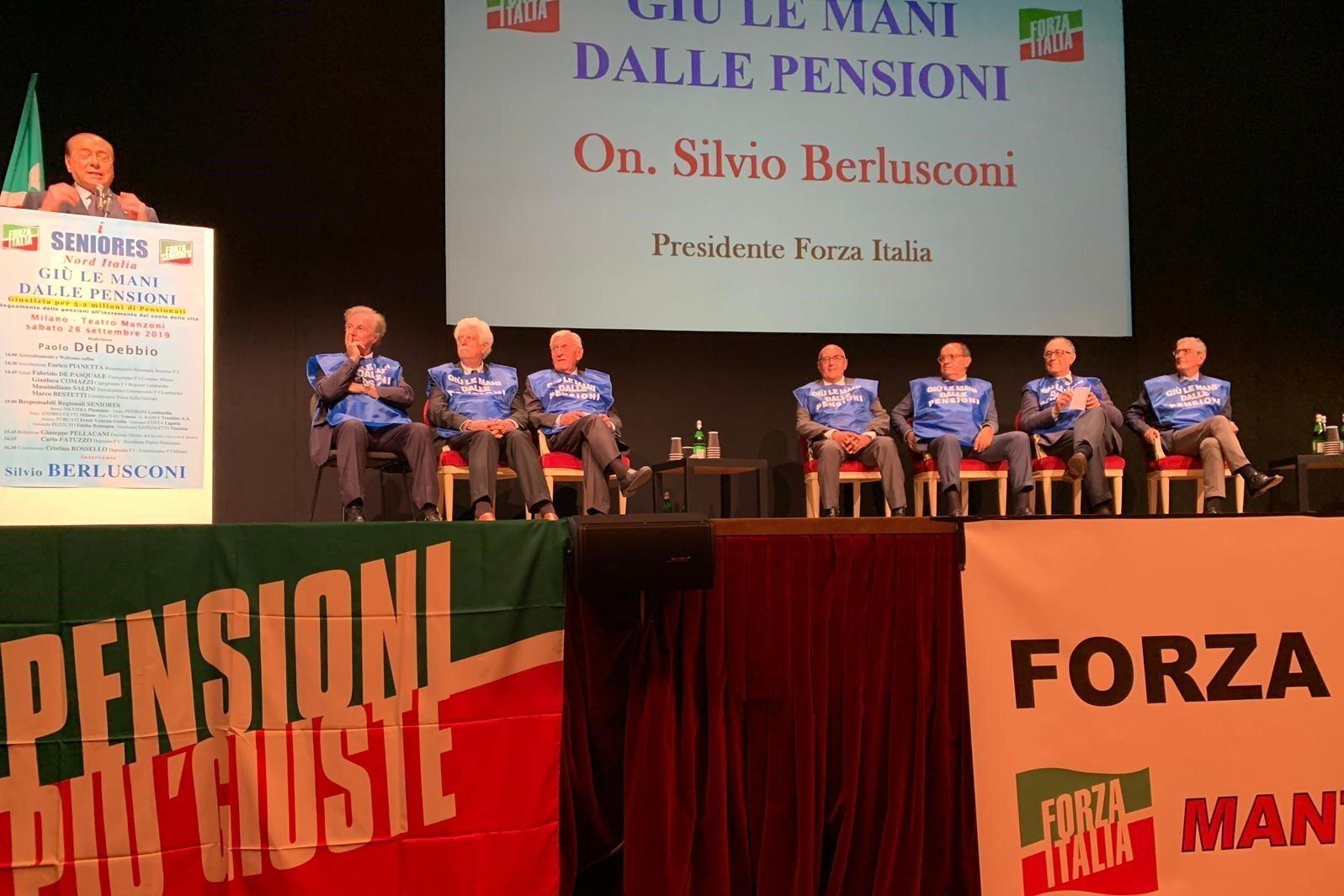 """Seniores: Conferenza """"Giù le mani dalle pensioni"""" con Berlusconi"""