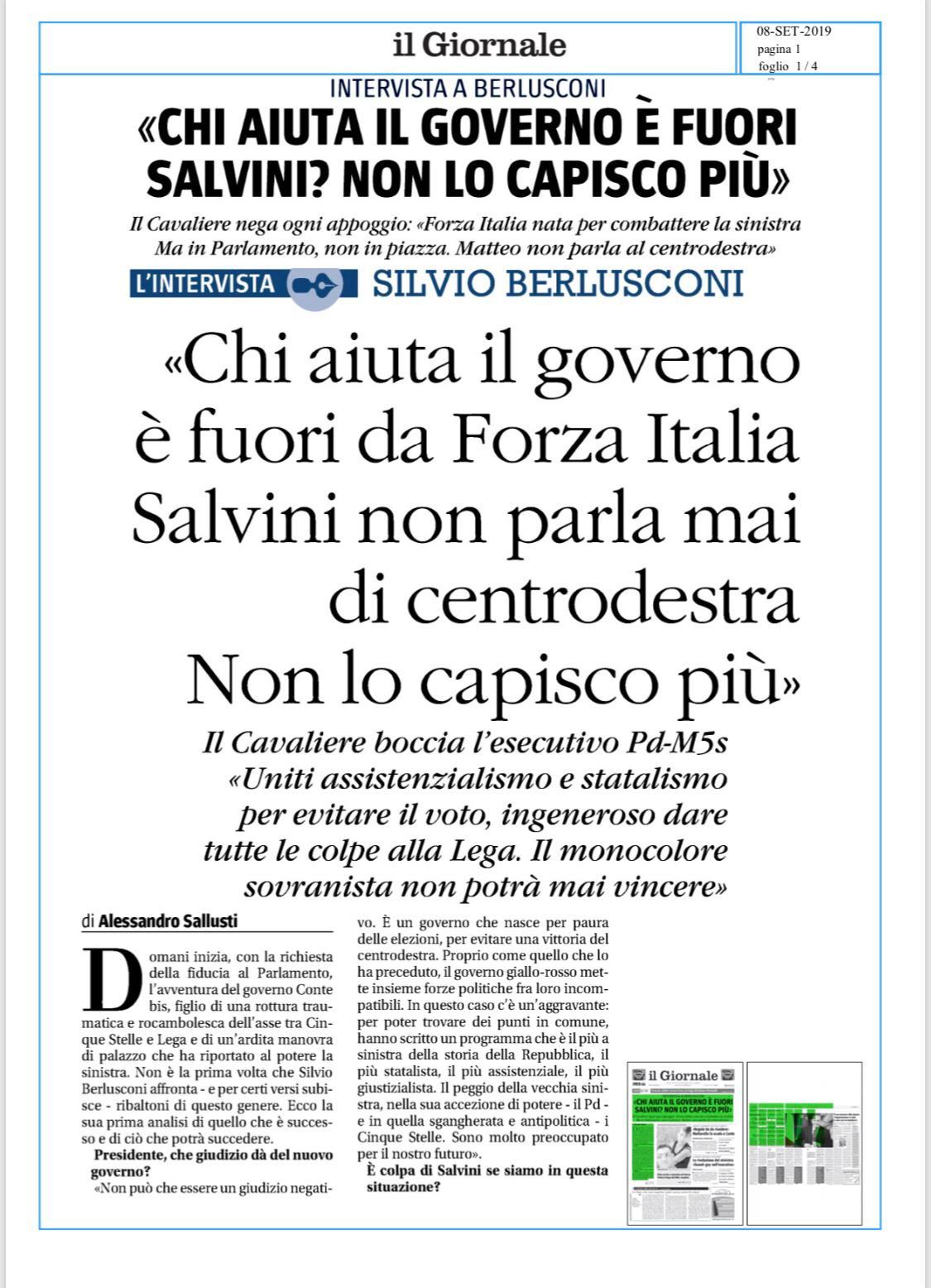 Berlusconi illustra la linea di Forza Italia al Giornale 4