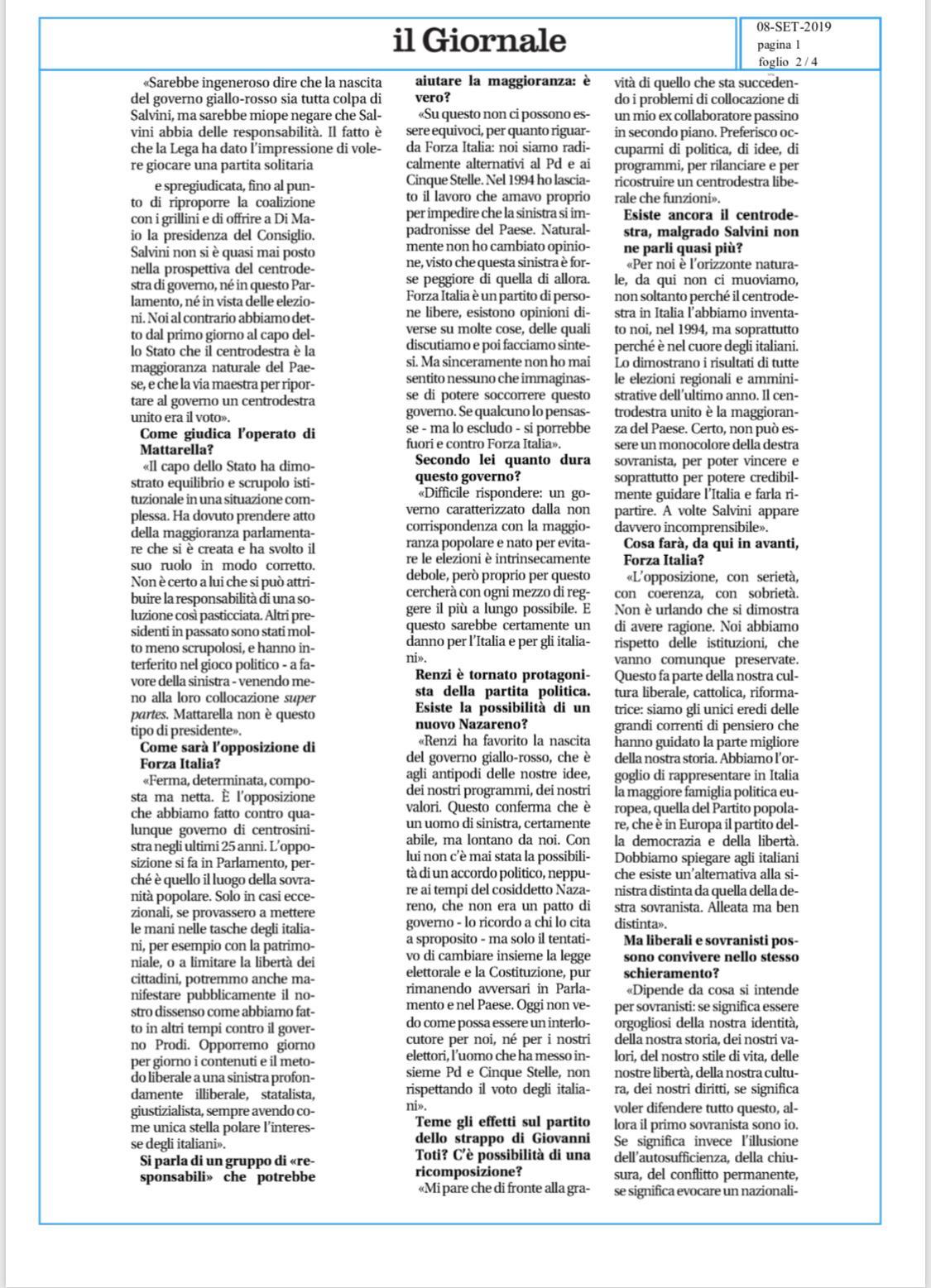 Berlusconi illustra la linea di Forza Italia al Giornale 5