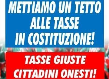 Berlusconi lancia la raccolta firme per il tetto alle tasse in Costituzione