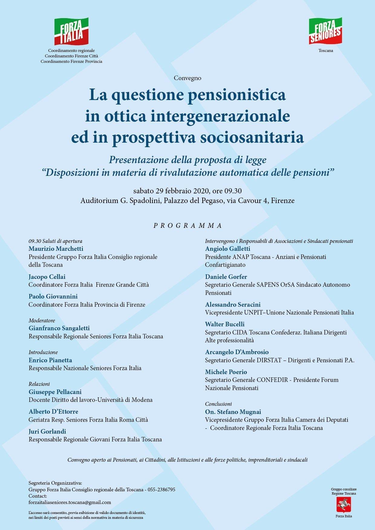 Convegno Seniores: La questione pensionistica. FORZA ITALIA, in particolare con il suo attivo Movimento SENIORES fortemente sostenuto